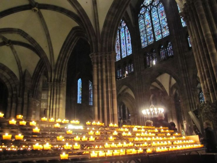 Prayer candles in the cathedral in Strasbourg, France