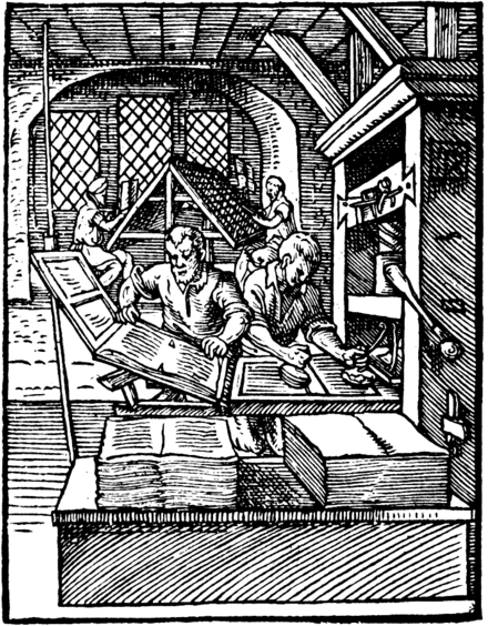 Woodcut of Gutenberg printing press in action