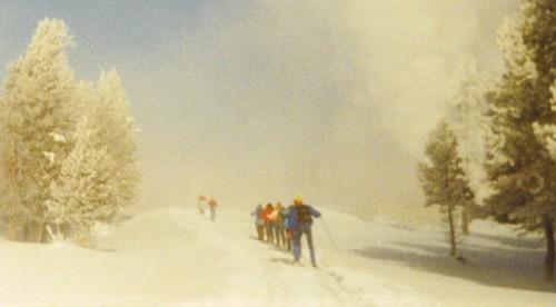 Cross-country skiiers in Yellowstone, 1990