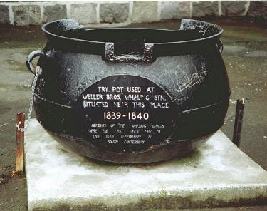 A pot of the kind used to render whale blubber into oil.
